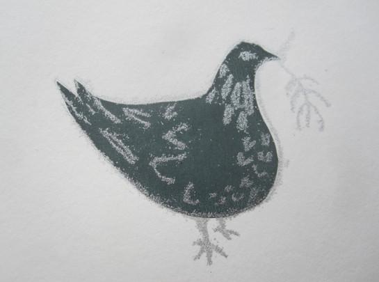 Dove with Sprig, 8x7cm. Unmounted £15 + p&p.