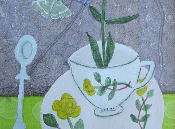 Cornflower, Rose Cup, Mixed Media, Paper, 12x17cm. Sold