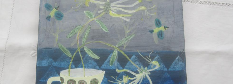 Honeysuckle & Blue Tits, Mixed Media, Board, 21x21cm.  £80 + p&p.