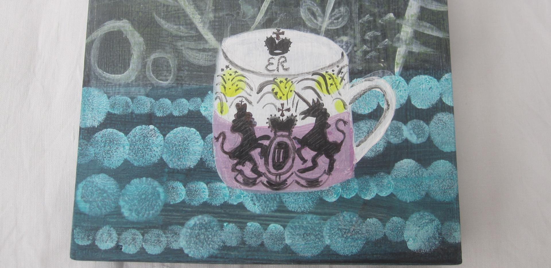 ER Coronation Cup, Mixed Media, Board, 13x13cm.  £50 + p&p.