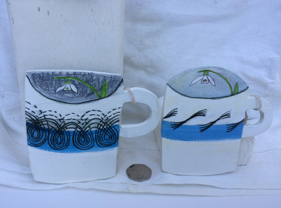 ER Persephone & Garden Mugs, 12x12cm.  £20 each + p&p.