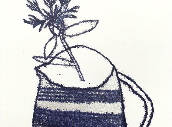 Silver Jug with Cornflower