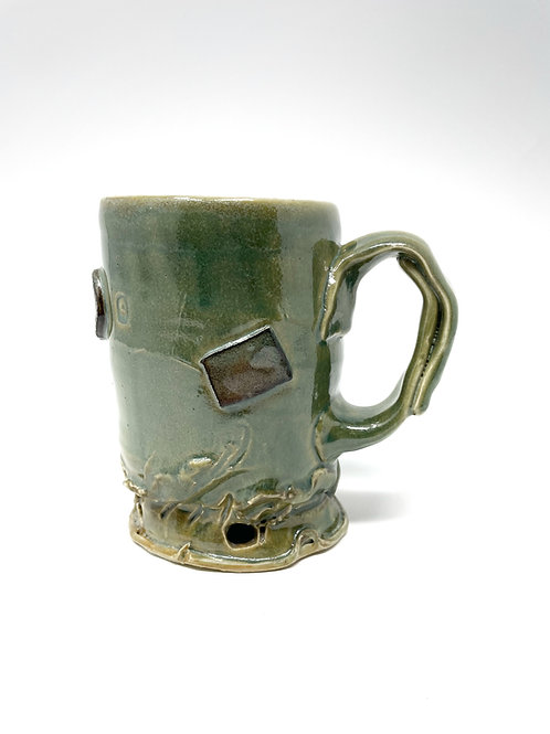 Green w/ large handle/Soda Fired