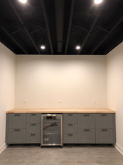 Basement Bar - recessed can lighting installation