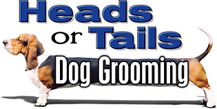 heads or tails dog grooming logo