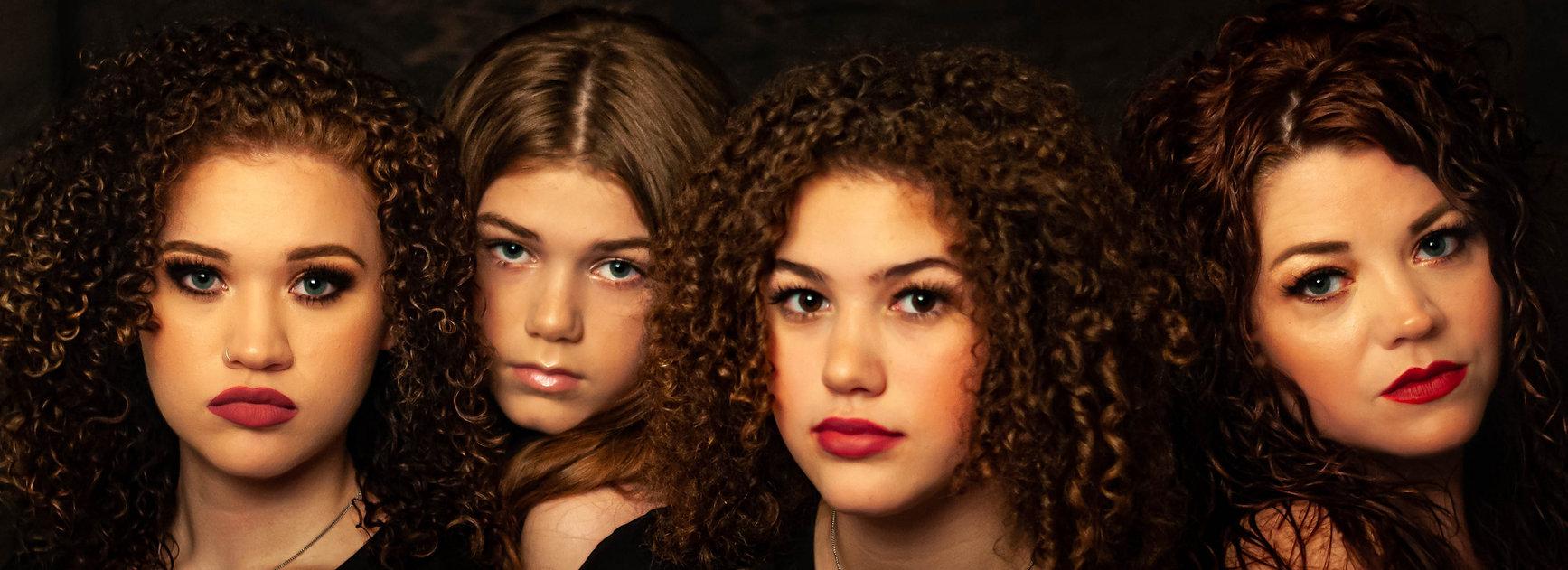 mom, daughters, curly hair, beautiful women, red lips, pink lips, Tiffany, Jaynlin, Gracelyn, Analyn