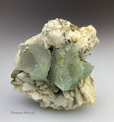 Fluorite on Albite : Nagar District, Gilgit- Baltistan,  Pakistan