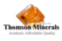 Thomson Minerals Logo of wulfenite showing Aesthetic Affordable Quality
