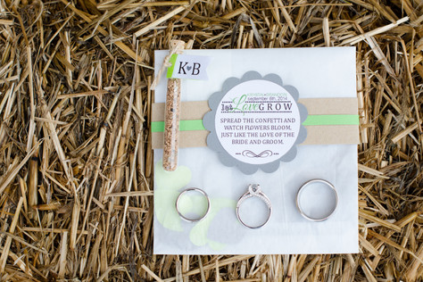 ring details hay flower seed wedding favor at West Overton Barn