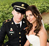 Military groom and beautiful bride on their wedding day at the Hayloft in Rockwod, PA