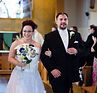 Bride and groom leaving the Church at St. Barbara's Church in Harrison City, PA