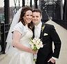 Bride and Groom on the hot metal bridge in pittsburgh PA