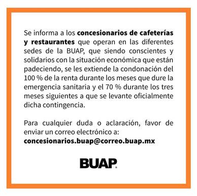 BUAP SOLIDARIA CON CAFETERÍAS Y RESTAURANTES