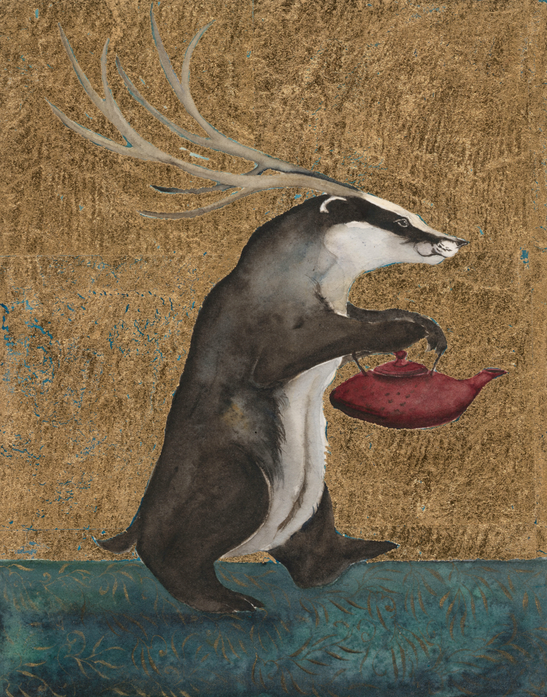 badger with tea pot