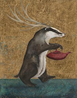badger with tea pot