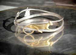 x-bracelet- cat leaf face -silver gilt-C