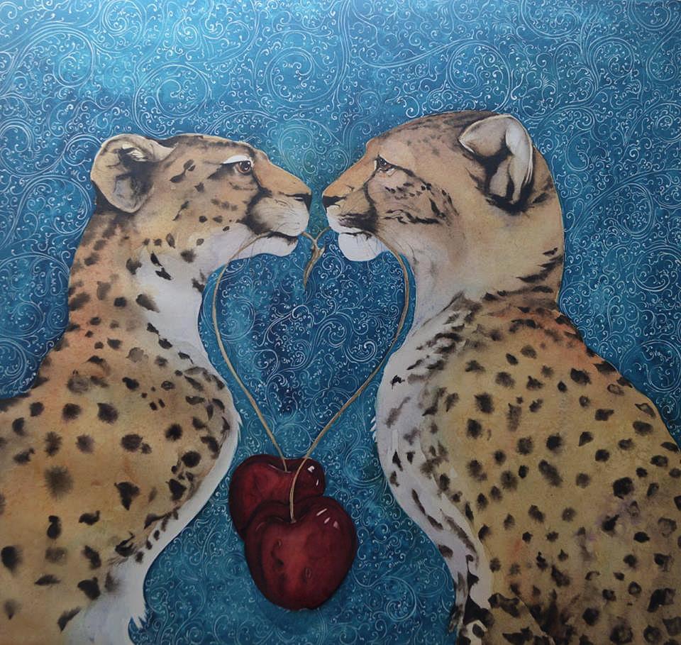 Two Cheetahs Two Cherries