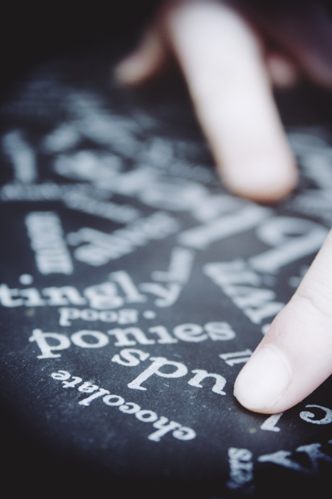 Laser etched word cloud