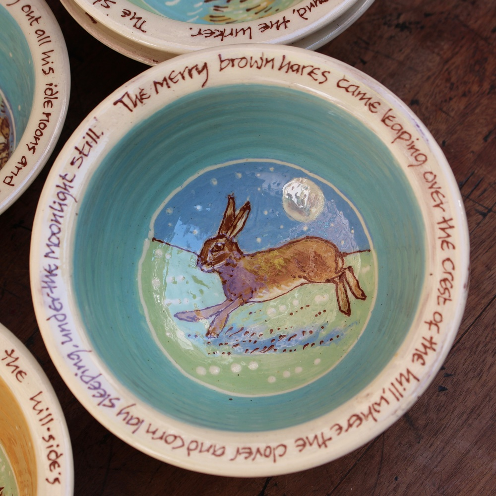 The merry brown hares came leaping...