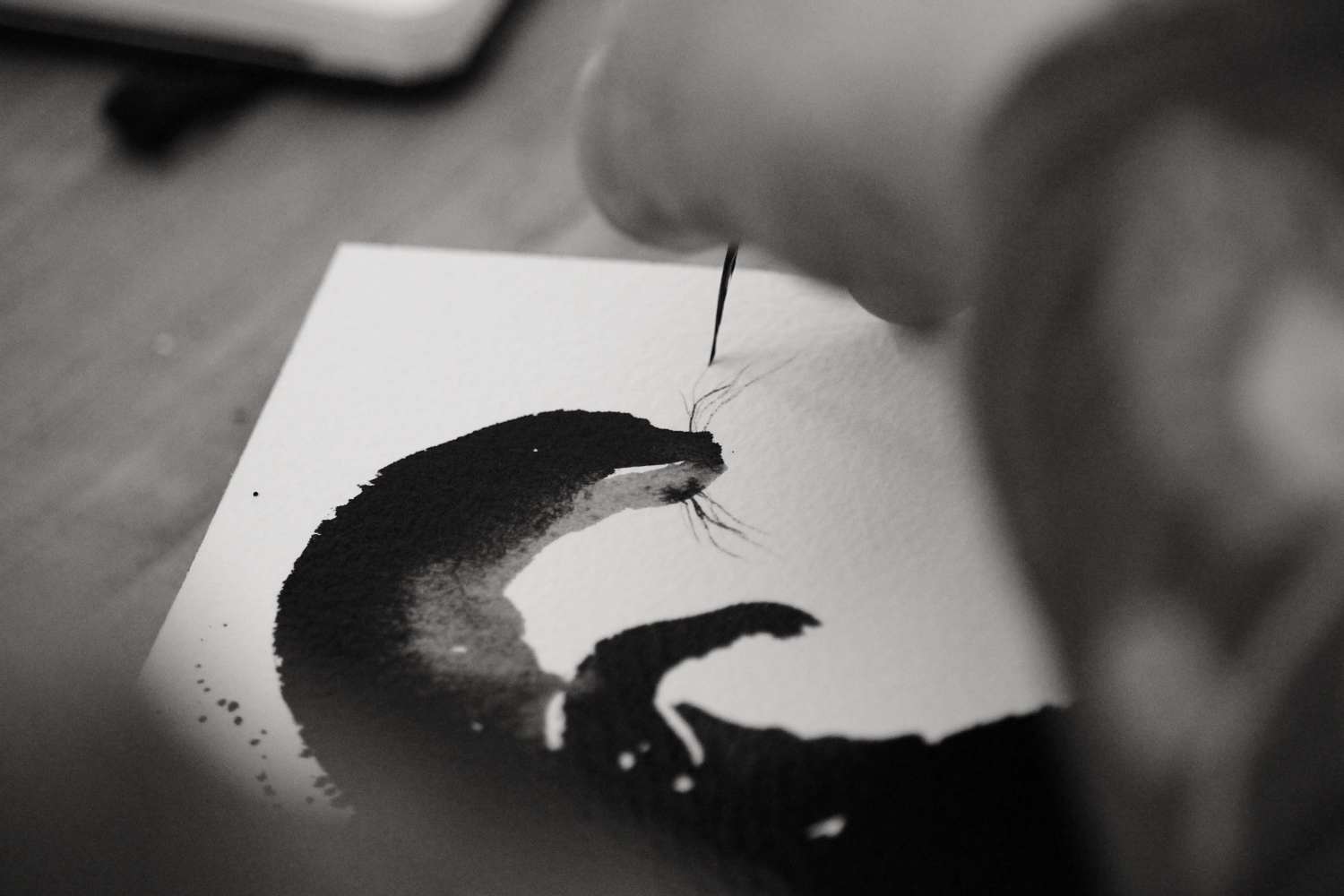 JM inky otter painting March numberseven