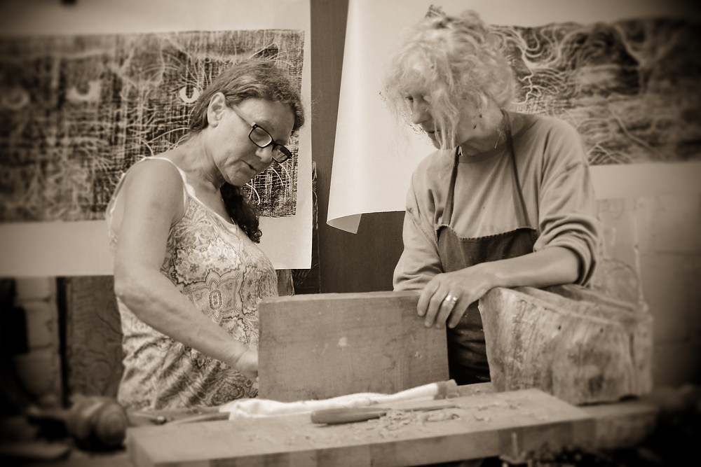 Anne Mortimer learning the art of wood carving with Jane Mowat
