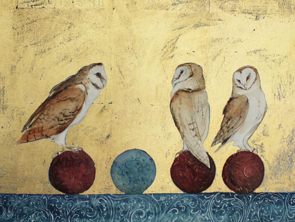 three owls, four balls