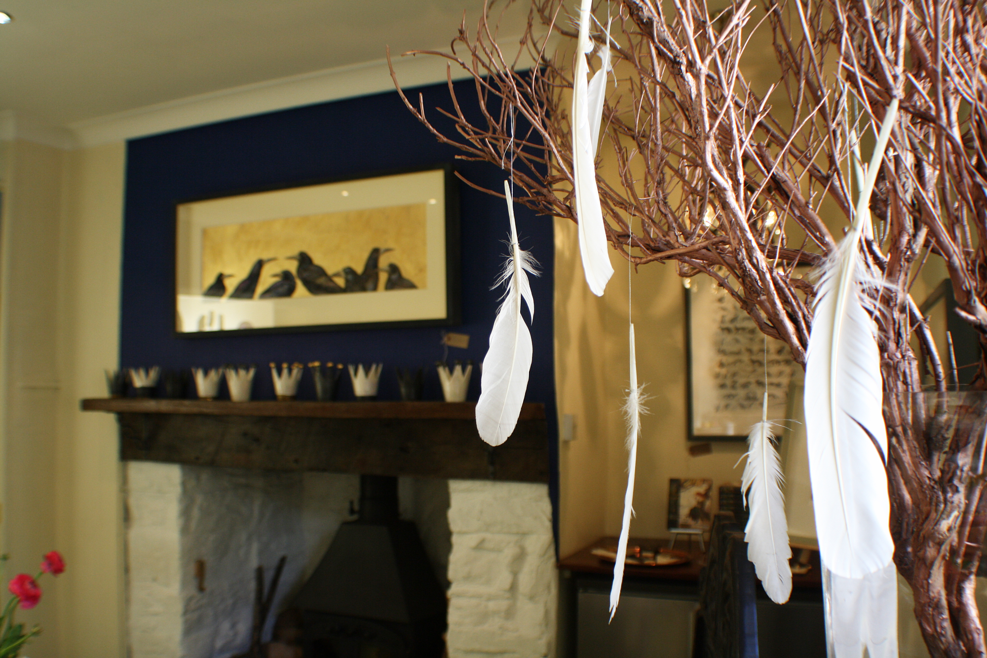 rooks in kitchen feathers