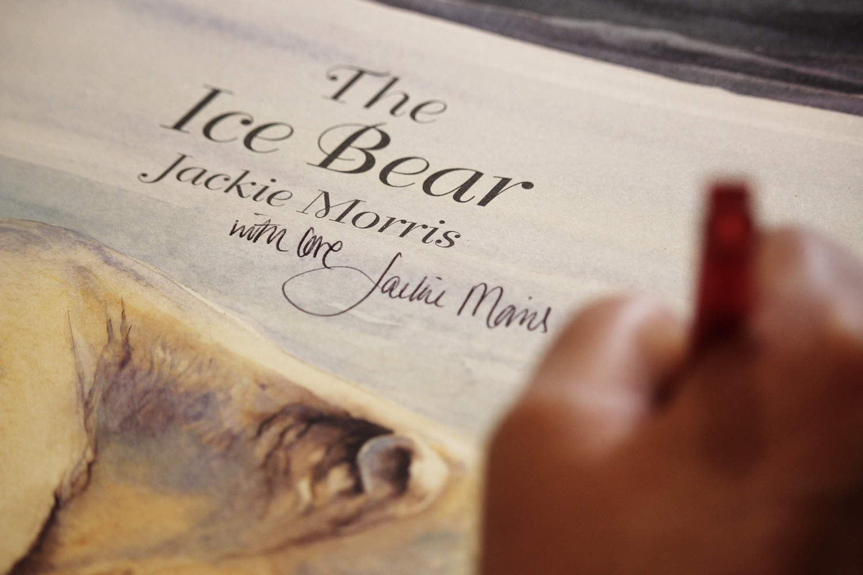 JM signing ice bear numbersevendulverton