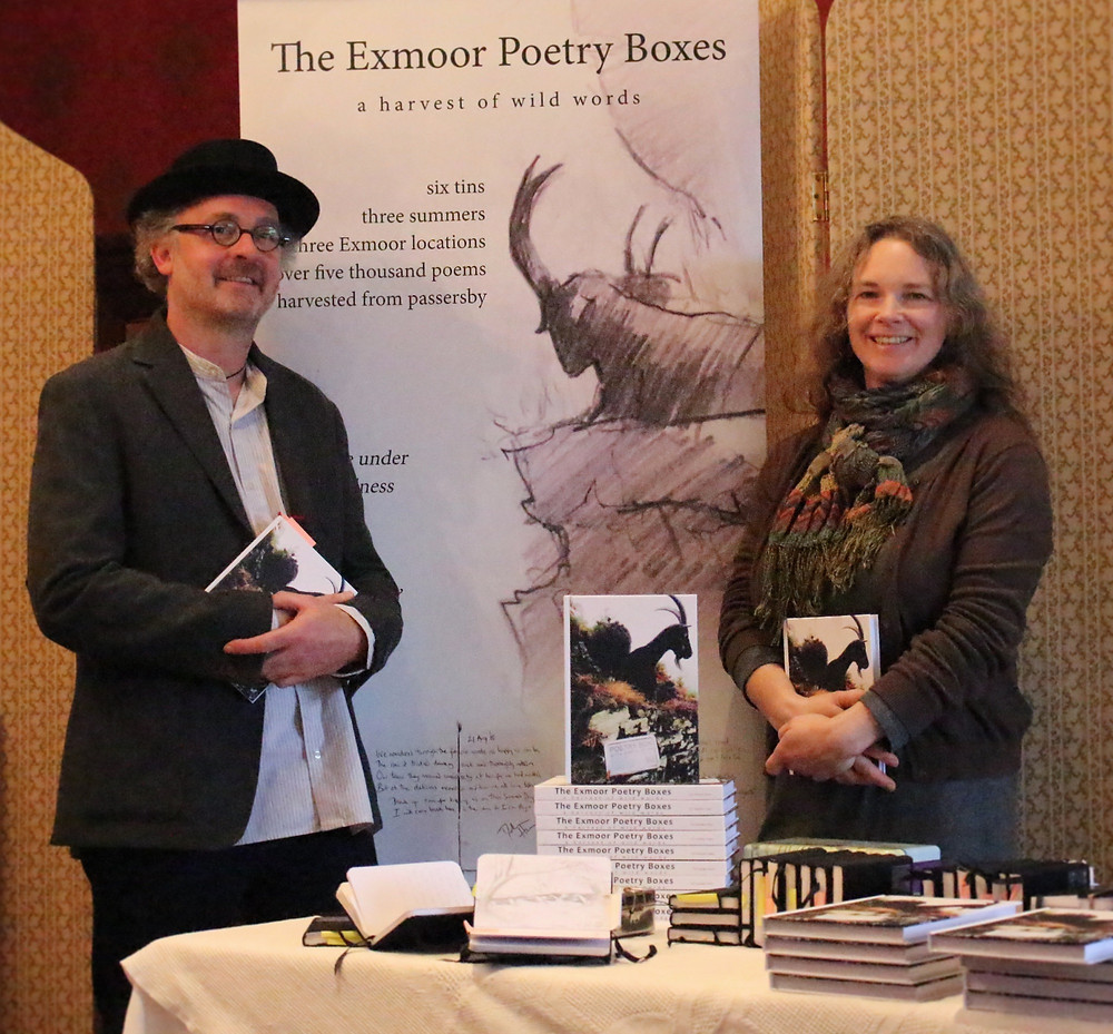 Christopher Jelley and Louise Reynolds at the launch of The Exmoor Poetry Boxes