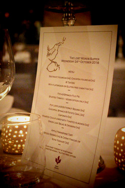 The Lost Words supper menu