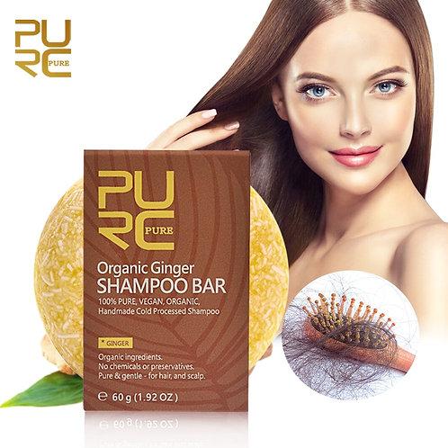 Shampoo Orgânico e Vegano de Gengibre Redução de Frizz e Queda de Cabelo