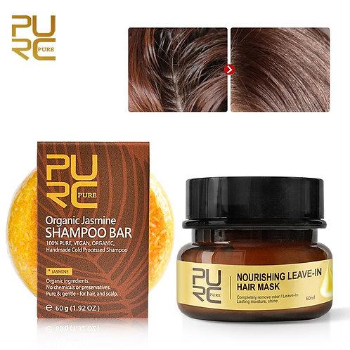 Shampoo Orgânico de Jasmine e Máscara Hidratante e Reparadora para cabelos