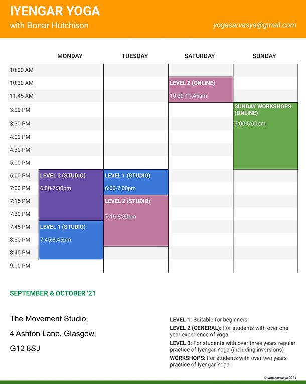 Bonar Hutchison Class Timetable '21