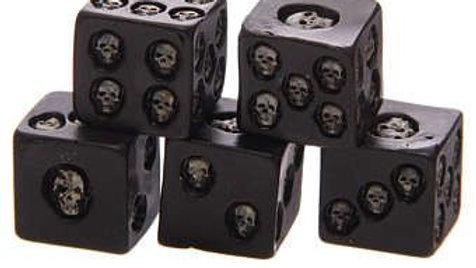 Skull Dot Set Of 5 Dice   (a)