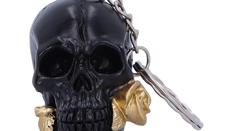 Black Skull/Gold Rose Resin Keyring   (a)