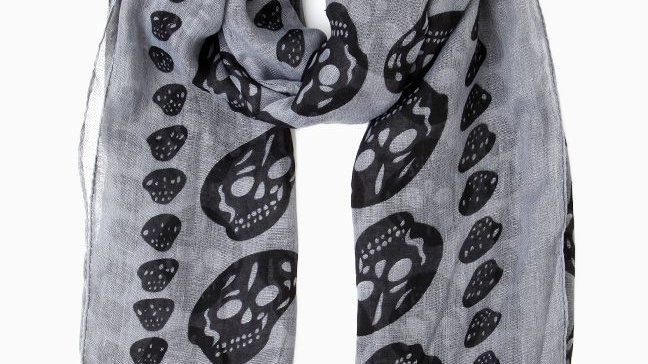 White Scarf with Skulls