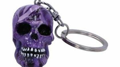 Purple Resin Skull Keyring   (a)