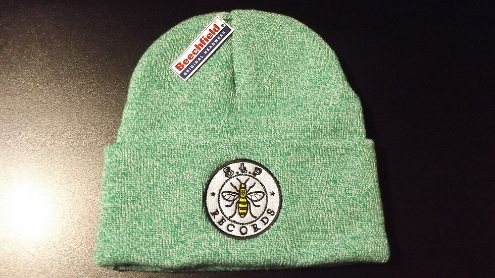 STP Records Embroidered Heather Green Beanie Hat