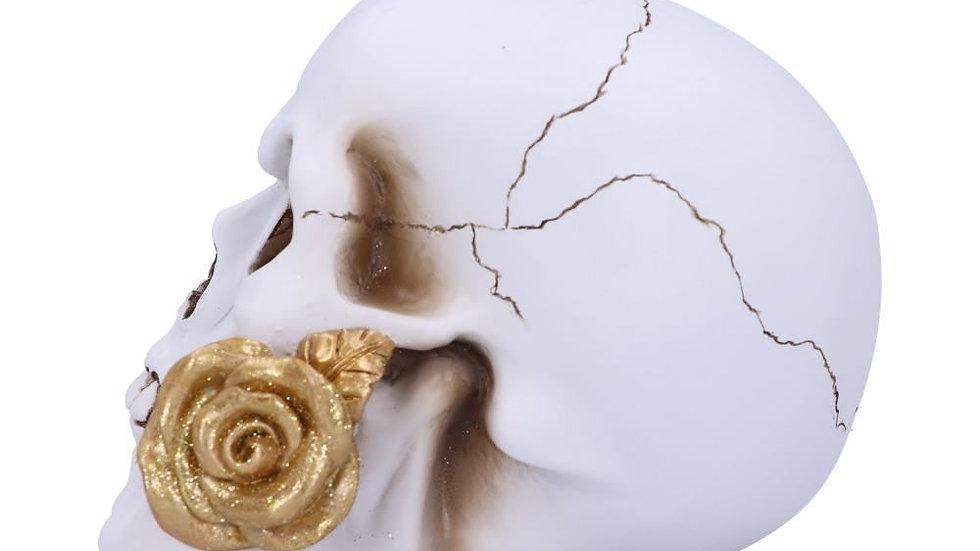 White Skull/Gold Rose Resin Skull   (b)