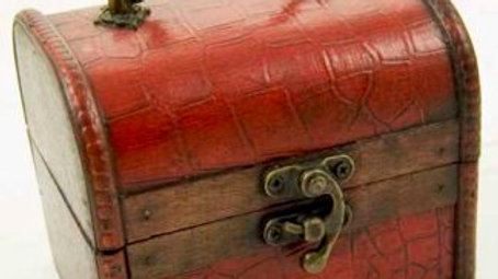 Large Wooden Leather Effect Trinket Box  (b)