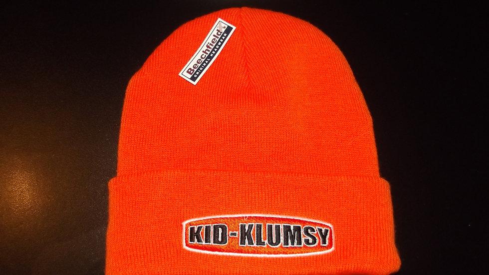 KID KLUMSY PUKKA EMBROIDERED ORANGE COLOUR BEANIE HAT.