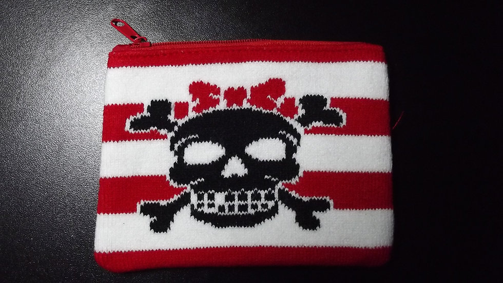 Knitted Bow Skull Purse