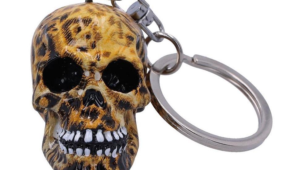 Leopard Resin Skull Keyring   (a)