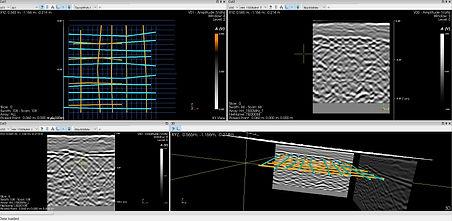 Imagine din programul de procesare a informațiilor obținute cu ajutorul echipamentului georadar de catre specialiștii Bomaco pentru proiectele de expertizare nedistructivă a structurilor