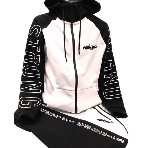 STRONG ISLAND WHITE/BLACK JOGGER SUIT