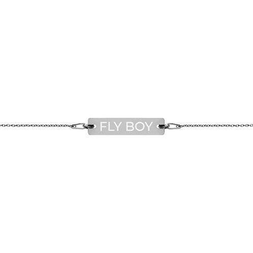 FLY BOY - Engraved Silver Bar Chain Bracelet
