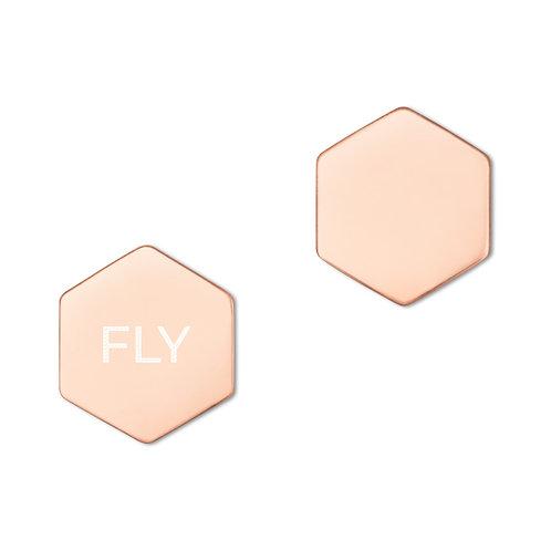FLY - Sterling Silver Hexagon Stud Earrings