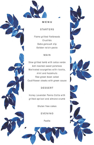 FIRE BOWL WEDDING MENU