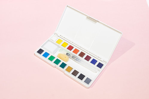 Watercolour Pan Set With Water Brush