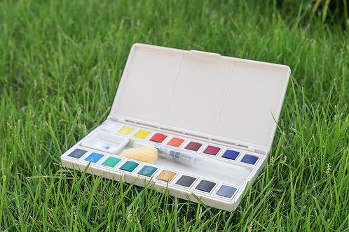 Solid Watercolour Painting Set With Water Brush